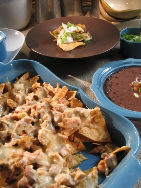 Chicken and Tomatillo Salsa Nachos