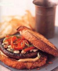 Portobello Burgers with Red Pepper and Gorgonzola