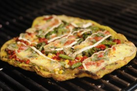 Blistered Corn, Asparagus and Pesto Pizza