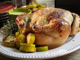 Roast Chicken Stuffed with Zucchini and Cheese