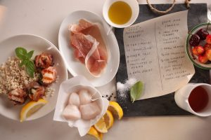 520 SCALLOP, BASIL, PROSCUITTO KABOB AND SANGRIA 1